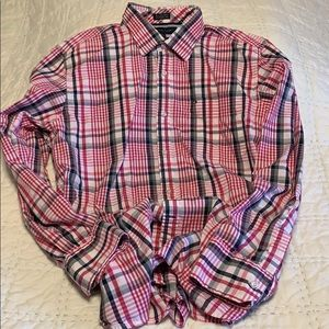 Tommy Hilfiger pink/gray plaid shirt, size L